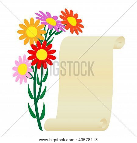 Flower and scroll.