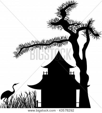 Asian house silhouette