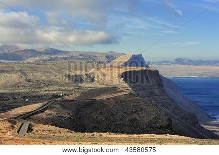 Road On Coast Risco De Famara,  Lanzarote, Canary Islands, Spain