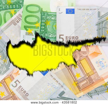 Cyprus on the background of euro money.