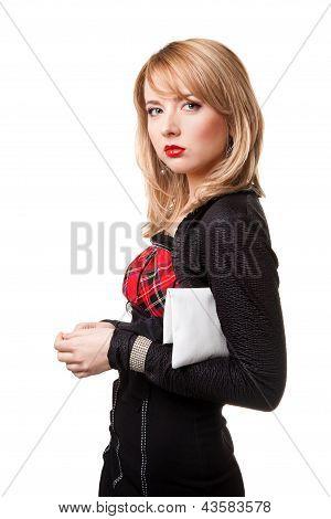 beautiful girl in black dress