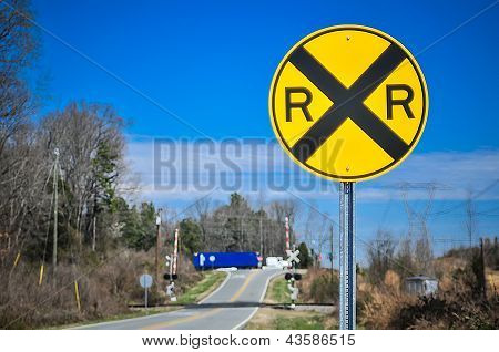 Yellow Railroad Tracks Sign