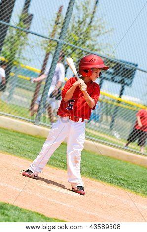 Youth Baseball Player With Wood Bat.