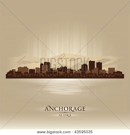 Anchorage Alaska City Skyline Silhouette