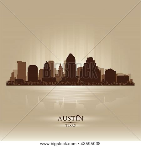 Austin Texas City Skyline Silhouette