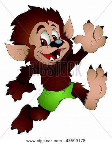 Cute Werewolf - Cartoon Character - Vector Illustration
