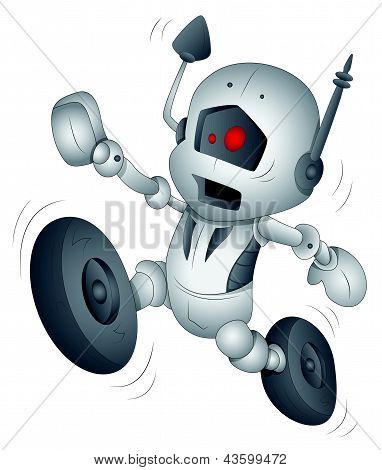 Funny Robot - Cartoon Character - Vector Illustration