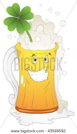 Cartoon Character - Beer Glass St Patrick's Day - Vector Illustration