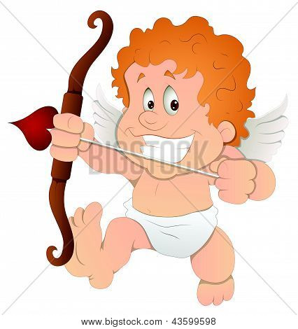 Cute Cartoon Cupid - Vector Illustration