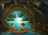 picture of cave woman  - Illustration of a cave with two kids riding in a wooden boat - JPG