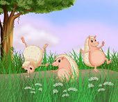 pic of ant-eater  - Illustration of the three molehogs playing - JPG