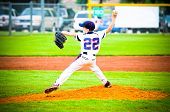 picture of pitcher  - Little league pitcher about to throw the pitch - JPG