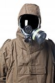 foto of decontamination  - A man wearing an NBC Suite  - JPG