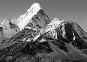 black and white view of Ama Dablam - way to Everest base camp - Nepal