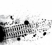 picture of dirt-bike  - Black tire track with grunge blots - JPG