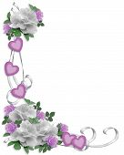 picture of wedding invitation  - Image and illustration composition lavender white roses design element for Valentine party wedding invitation background border or frame with copy space - JPG
