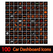 foto of headlight  - 100 Car Dashboard Icons - JPG