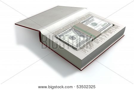 Concealed Us Dollar Notes In A Book Front