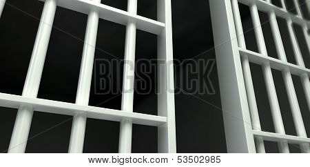 White Bar Jail Cell Perspective Unlocked