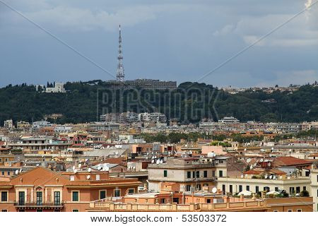 Panorama Of The City Of Rome Seen From Castel San Angelo With The Roofs And Mario Mount