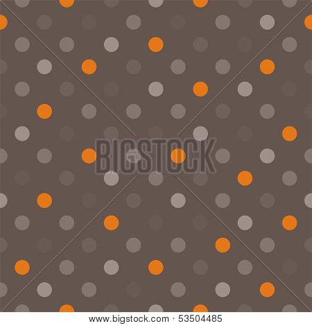 Seamless vector pattern with orange, beige, brown, grey, colorful polka dots dark brown background