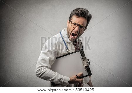 angry doctor with clipboard