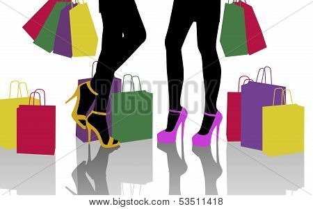 Two Women With Lots Of Colorful Shopping Bags