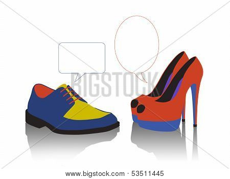 Unequal Dialogue Between Colorful Shoes