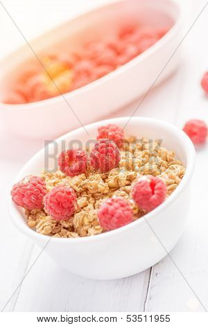 Fresh Granola Breakfast With Raspberries And Honey