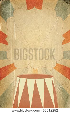 Retro Circus Style Poster Template On Rhombus Background With Ribbons