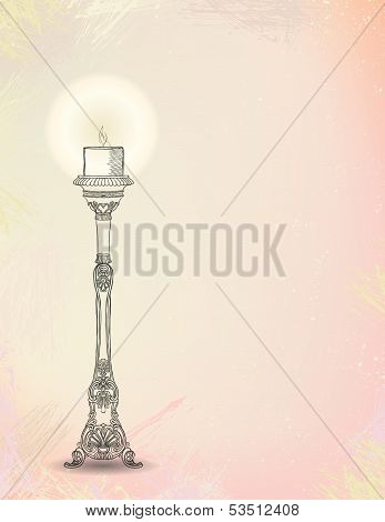 vector illustration of glowing candlestick
