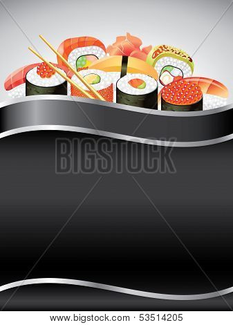Sushi On Black Vertical Background