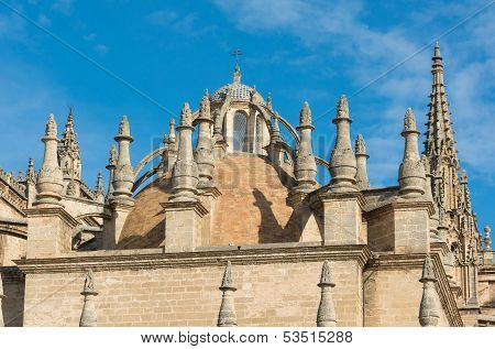 Seville Cathedral With The Giralda Tower In Spain