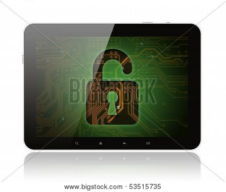 Tablet PC with circuit background