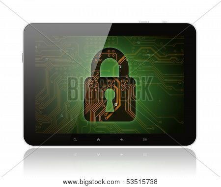 Tablet PC with circuit background and lock