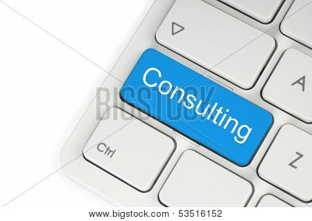 Blue consulting keyboard button