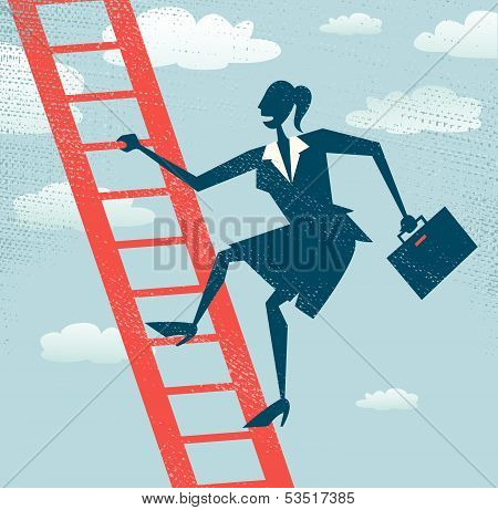 Abstract Businesswoman climbs up the Corporate Ladder.