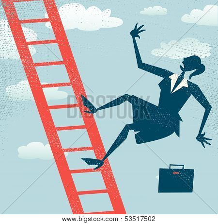 Abstract Businesswoman falls off the Corporate Ladder.