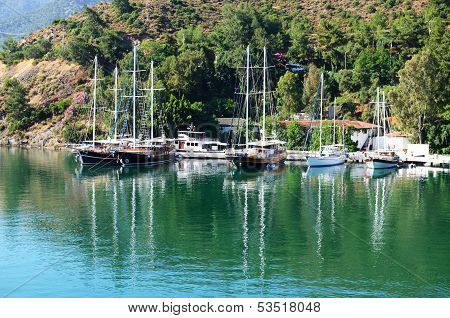 Yachts At The Pier On Mediterranean Turkish Resort, Fethiye, Turkey