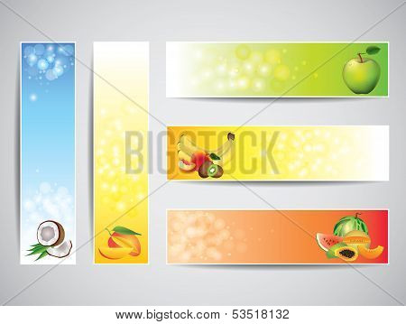 Colorful Banners With Fruits, Vector