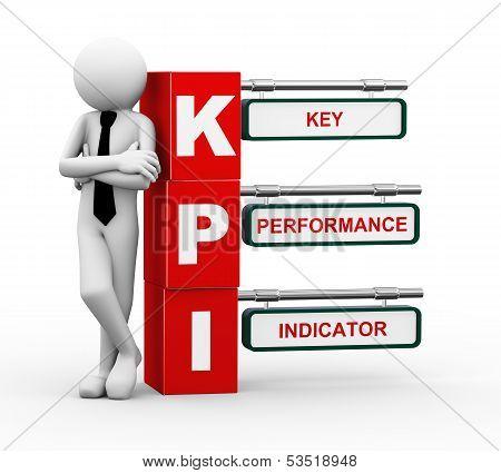 3D Businessman With Kpi Signpost Illustration