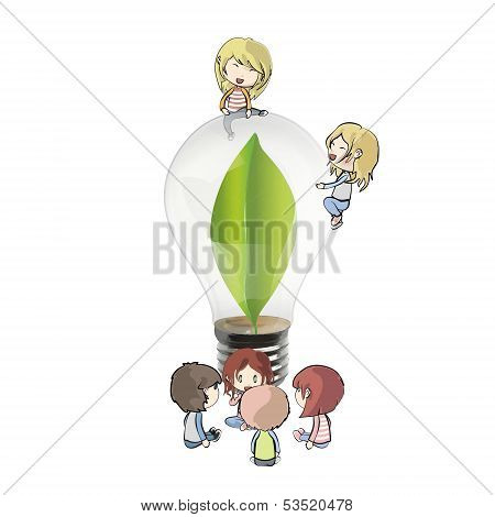 Kids Around Bulb With A Green Leaf Inside. Realistic Vector Design
