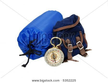 Backpack, Sleeping Bag And Compass