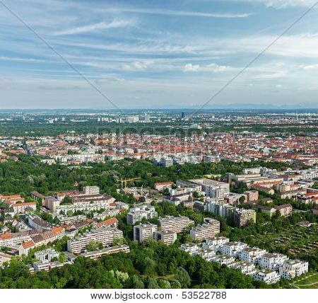 Aerial view of Munich from Olympiaturm (Olympic Tower). Munich, Bavaria, Germany
