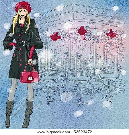 Vector Beautiful Fashionable Girl Near The Christmas Parisian Cafe