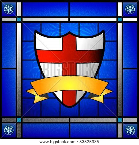 St George Shield In Stained Glass Window