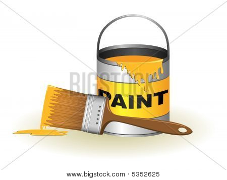 Paint Can And Brush Illustration