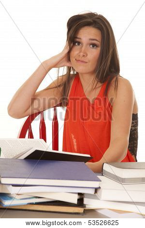 Woman Red Shirt Books Hand Cheek