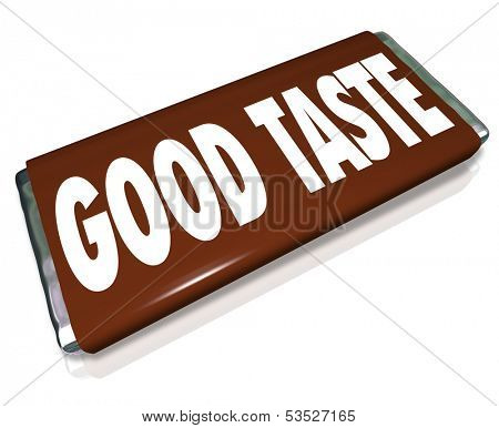 Good Taste Chocolate Candy Bar Wrapper Words