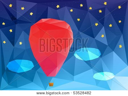 ballon at night, poplygonal vector illustration